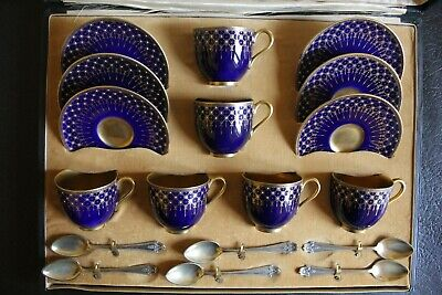 Boxed Asprey Antique Coffee set: Royal Worcester Porcelain: Circa 1915 in blue
