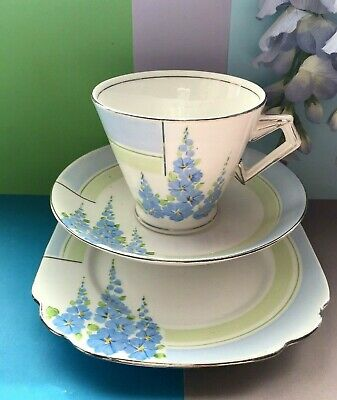 Art Deco / Vintage Standard China Floral & Silver Tea Set Trio,Cup,Saucer,Plate