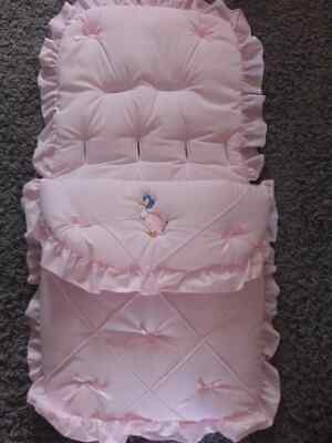 Beautiful. Pram  Cosytoes  / Footmuff  Pink  And  Bows With Jemima Puddle Duck