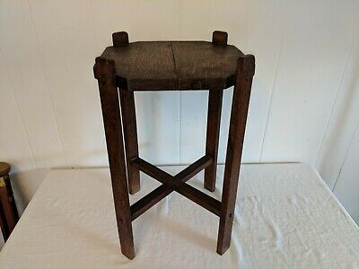 Vintage Arts and Crafts Mission Solid Oak Plant Stand Side End Table Antique 2