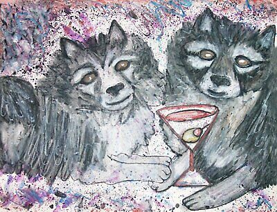 KEESHOND Drinking a Martini Dog Pop Outsider Vintage Art 8 x 10 Signed Print