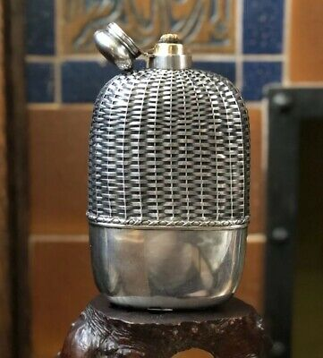 "8.5"" 1-1/8p Antique Gorham Sterling Silver Basket Weave Whiskey Liquor Hip Flask"