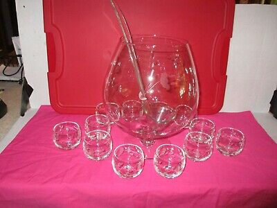 VINTAGE PRINCESS HOUSE HERITAGE BRANDY SNIFTER PUNCH BOWL w 12 ROLY POLY GLASSES