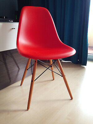 Original VITRA Stuhl Eames Plastic Side Chair DSW Orange Rot Poppy Red TOP!