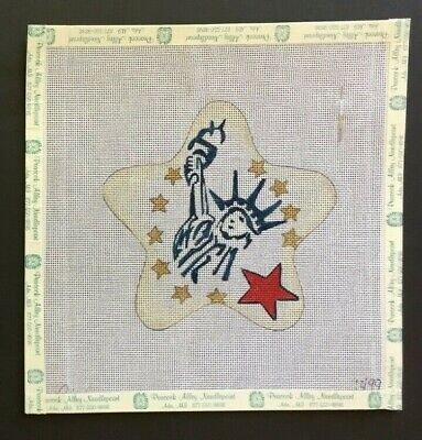 Cindy Designs Hand-painted Needlepoint Canvas Statue of Liberty Star Ornament