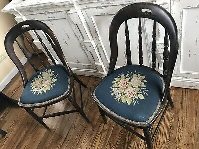 Antique Vintage Wood Victorian Pair Accent Hall Needlepoint Tapestry Chairs