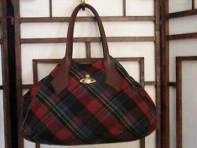 5d246c00a6 AUTHENTIC VIVIENNE WESTWOOD Multicolor Tartan Bowler Bag Handbag ...