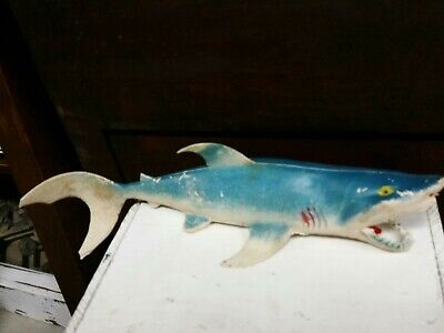 """Great White Shark Vintage Rubber Toy Made in Hong Kong 13"""" long"""