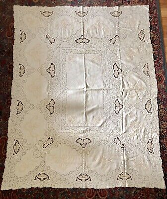 """Vintage White Lace Cut Work Linen Embroidery Tablecloth 83"""" X 65"""""""