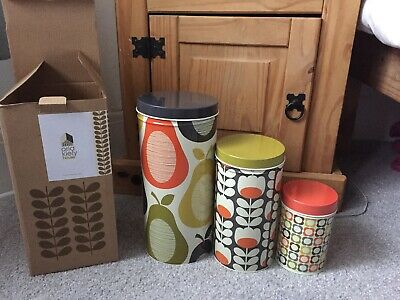 Orla Kiely Flower Canister Set Of 3 Storage Tins