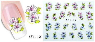 Nail Art Water Transfer Sticker Decal Stickers Pretty Flowers White Blue XF1112