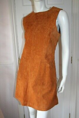 BNWT Red Herring 1960's Style Tan Suede Leather Pinafore Dress Size 12 vgc