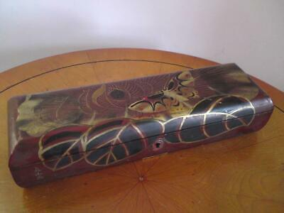 Antique Japanese Edo / Meiji Signed Wooden Lacquer Gilt Butterfly Glove Box