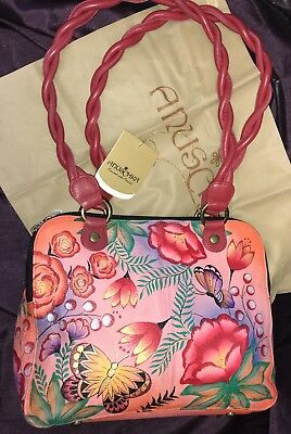 ANUSCHKA🌸NWT Triple Compartment Twisted Handle Tote🌸Summer Garden 7180-SMG