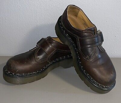 Vintage 90s Grunge Dr. Martens Shoes Brown Leather Straps w/Buckle Womens Size 7