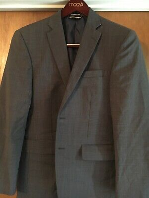 Nautica Designer Mens Double Grey Classic Notched-Lapel Two-Button Blazer 38R