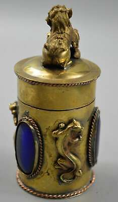 Collectable Copper Carve Lizard Lion Inlay Agate Ancient Handwork Toothpick Box