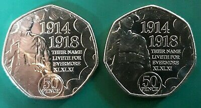 2018 Isle of Man 50p. ARMISTICE DAY. Fifty Pence. Circulated.