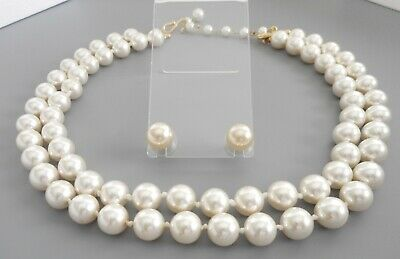 Attractive Vintage Gold Tone Faux Pearl Two Strand Necklace w/Earrings Set