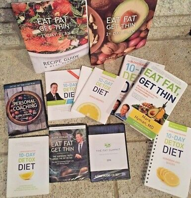 Eat Fat Get Thin and 10 Day Detox Diet Mark Hyman Materials LOT DVD and Books
