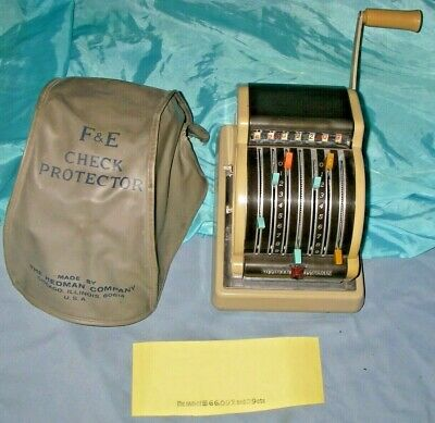 Hedman Company F & E Check Protector Writer Excel Model Business Machine Vintage