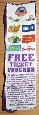Free Entry Ticket Voucher Merlin Attractions Alton Towers Legoland exp 31.07.19