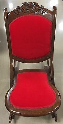 Rare Old Vintage Antique Folding Nursing Rocking Chair Wood Red Upholstered Nice