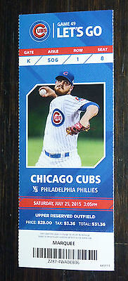 Season Ticket Stub 7 25 2015 Wrigley Cubs Cole Hamels Phillies No Hitter No No +