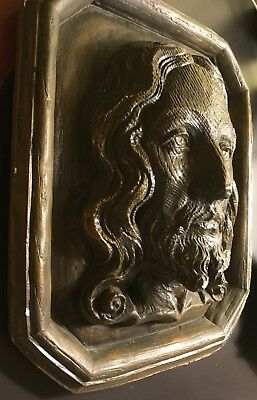 Vintage Plaster 3D Jesus Christ Face Head Rare Old Molded Wall Hanging Pray Lord