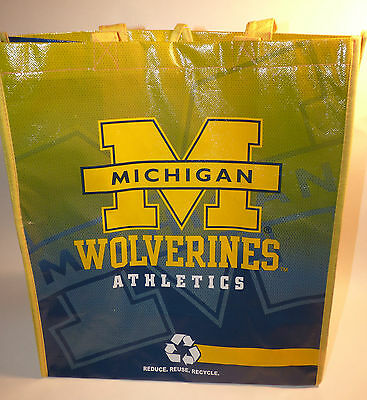 NEW REUSABLE BAG TOTE MICHIGAN WOLVERINES U Of M Great For Gifts Groceries Beach