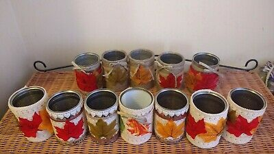 12 Decorated Cans for weddings, parties or table ornaments .