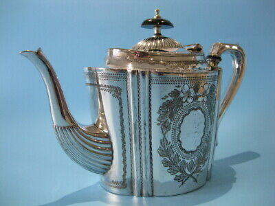 Beautiful Antique Silver Plated Ornate Victorian Hand-Engraved Tapered Tea Pot