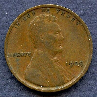 1909-VDB-  Lincoln Wheat Cent- VERY FINE- NICE BN WHEAT DETAIL - -   A088