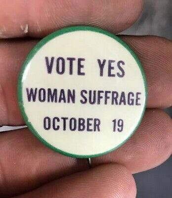 "VERY RARE 1915  ""VOTE Yes Womans SUFFRAGE October 19"" PINBACK - MINT New Jersey"