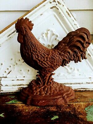 Vintage Rusty Cast Iron Door Stop Rooster/Chicken Primitive Rustic