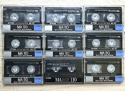 Lot of 9 TDK MA 110 Position Metal Cassette Tape Type 4 IV Used