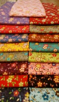 Happy Flowers  100% cotton fabric By The Yard U pick color #b09