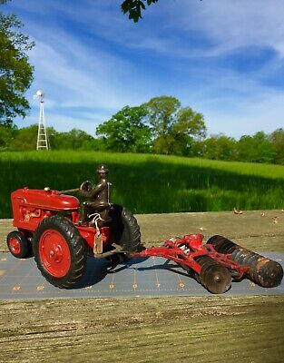 Vintage Antique Arcade Cast Iron Double Disc Toy Tractor Implement With Seat