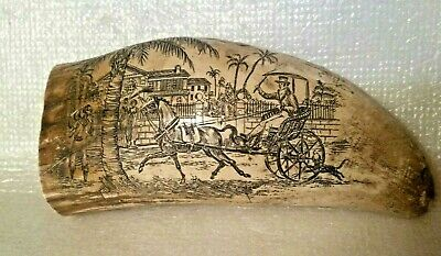 Vintage Faux SCRIMSHAW (plantation & shipping scenes)  5 inch WHALE/WALRUS TOOTH