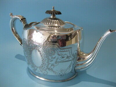 Beautiful Antique Silver Plated Victorian Chased / Hand-Engraved Oval Tea Pot