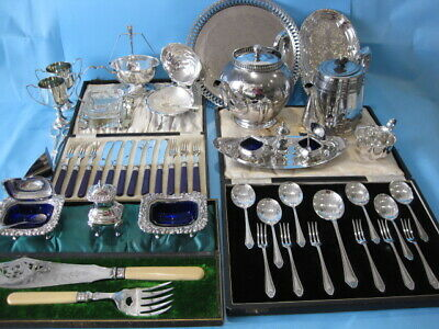 Nice Large Job Lot Antique & Vintage Silver Plated Items & Silver Plated Cutlery