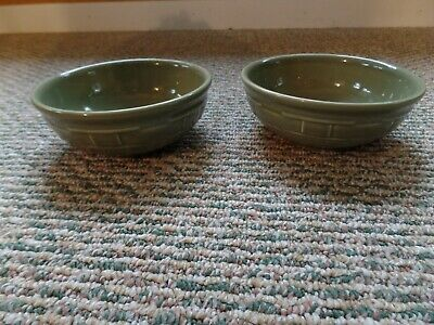 Longaberger Woven Traditions pottery 2 Large Cereal Bowls Sage