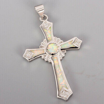 Long Celtic Cross White Fire Opal Inlay Silver Jewelry Necklace Pendant
