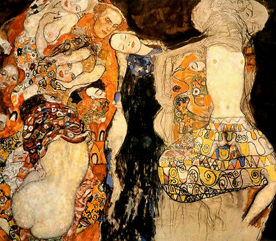 Oil painting Gustav Klimt - Bride abstract people hand painted in oil on canvas