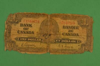 Bank of Canada 1937 $1 One Dollar. Gordon Towers. Ungraded. CL1840574.