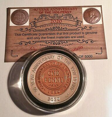 "2020 ""90 Year Anniversary Of The 1930 Penny"" 43 mm Coin, Limited to 5000, C.O.A"