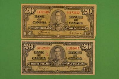 Lot of Two January 2nd, 1937 Bank of Canada $20 Mixed Prefix. Ungraded.