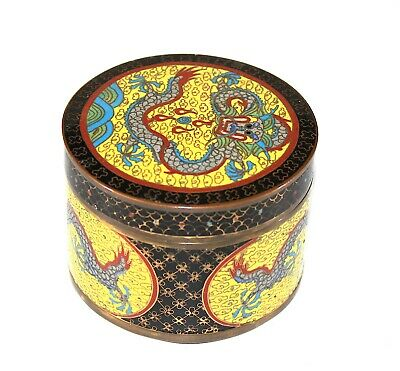 A late Qing Chinese cloisonne enamel dragon box, handmade old antique 863