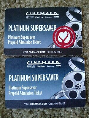 2  Platinum Supersaver Cinemark Prepaid Admission Movie Ticket - No Expiration
