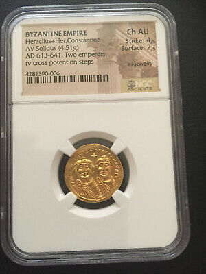 Byzantine Empire Heraclius+Her.Constantine AD 613-641 Gold Solidus NGC Ch:AU